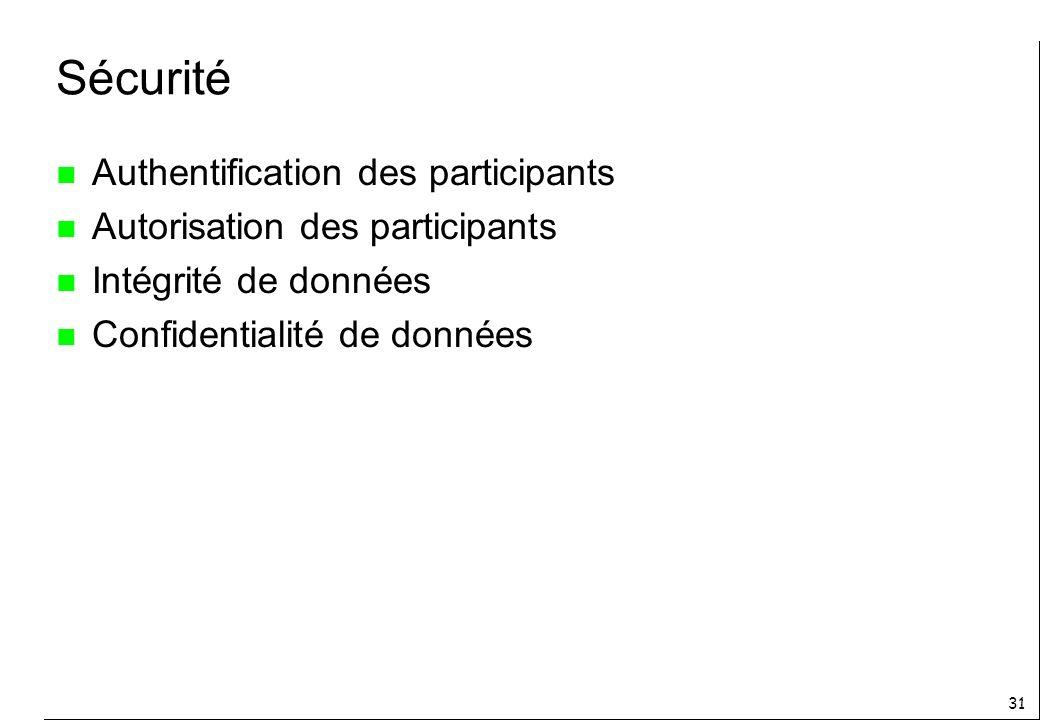 31 Sécurité n Authentification des participants n Autorisation des participants n Intégrité de données n Confidentialité de données