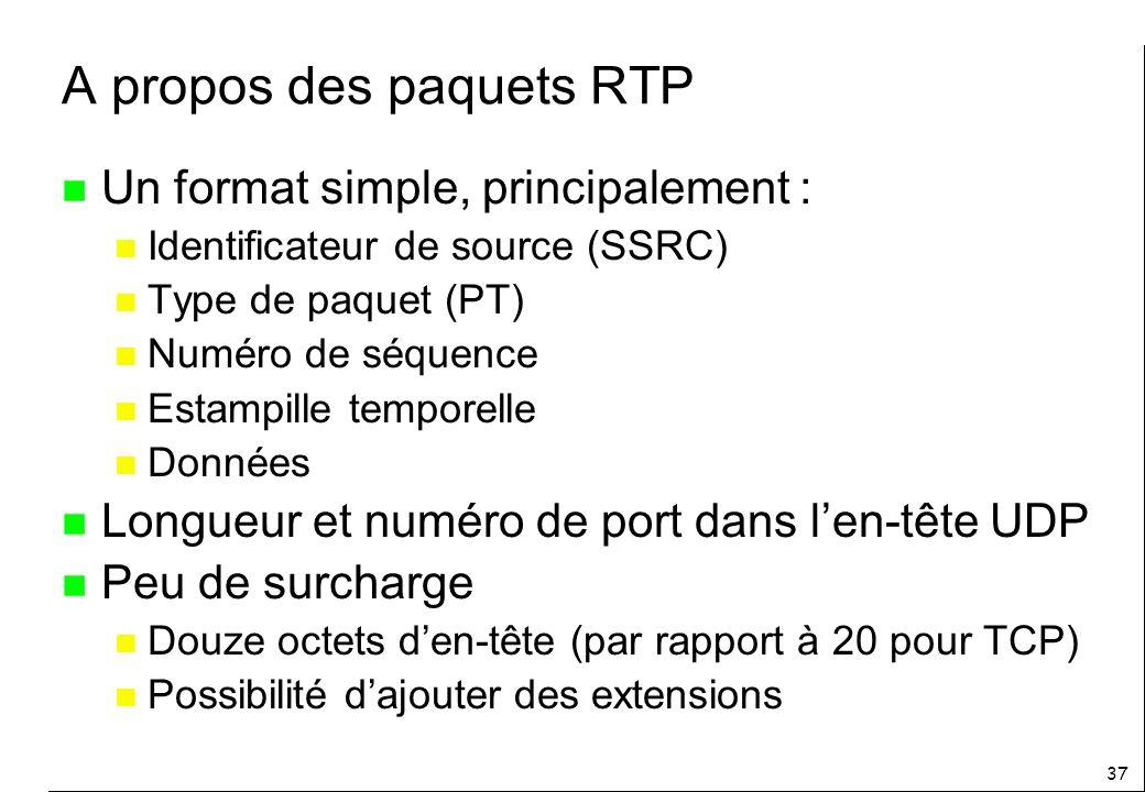 37 A propos des paquets RTP n Un format simple, principalement : n Identificateur de source (SSRC) n Type de paquet (PT) n Numéro de séquence n Estampille temporelle n Données n Longueur et numéro de port dans len-tête UDP n Peu de surcharge n Douze octets den-tête (par rapport à 20 pour TCP) n Possibilité dajouter des extensions