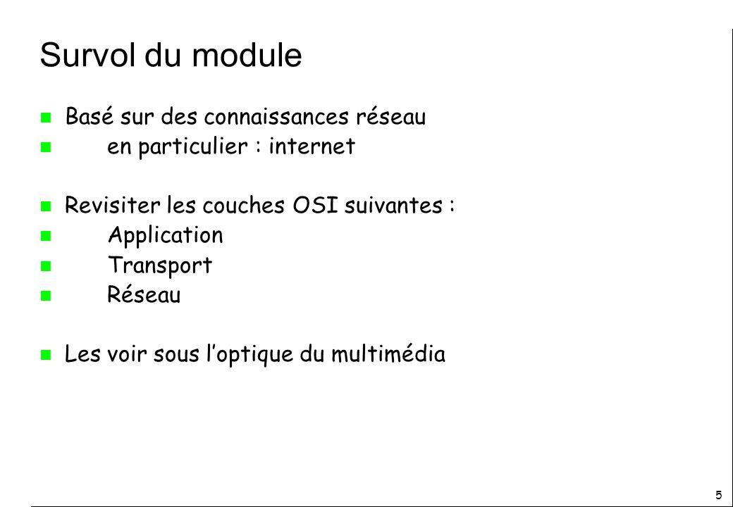 5 Survol du module n Basé sur des connaissances réseau n en particulier : internet n Revisiter les couches OSI suivantes : n Application n Transport n Réseau n Les voir sous loptique du multimédia