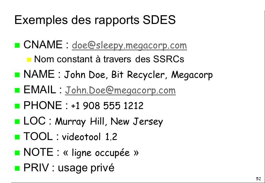 52 Exemples des rapports SDES CNAME : doe@sleepy.megacorp.com doe@sleepy.megacorp.com n Nom constant à travers des SSRCs NAME : John Doe, Bit Recycler, Megacorp EMAIL : John.Doe@megacorp.com John.Doe@megacorp.com PHONE : +1 908 555 1212 LOC : Murray Hill, New Jersey TOOL : videotool 1.2 NOTE : « ligne occupée » n PRIV : usage privé