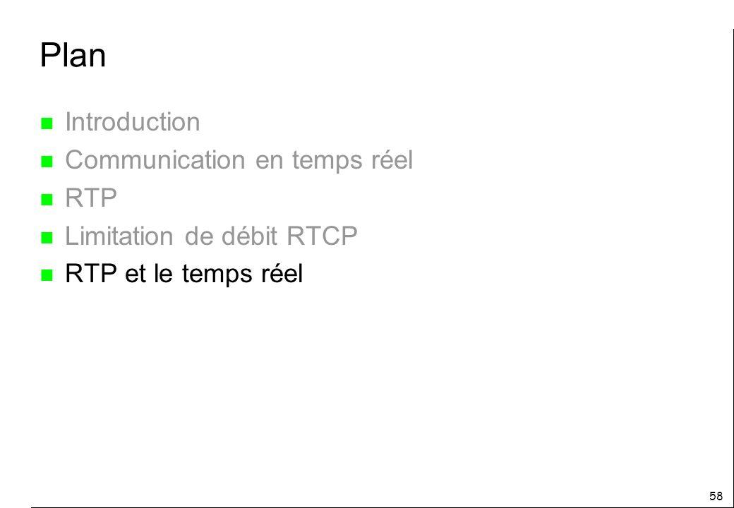 58 Plan n Introduction n Communication en temps réel n RTP n Limitation de débit RTCP n RTP et le temps réel