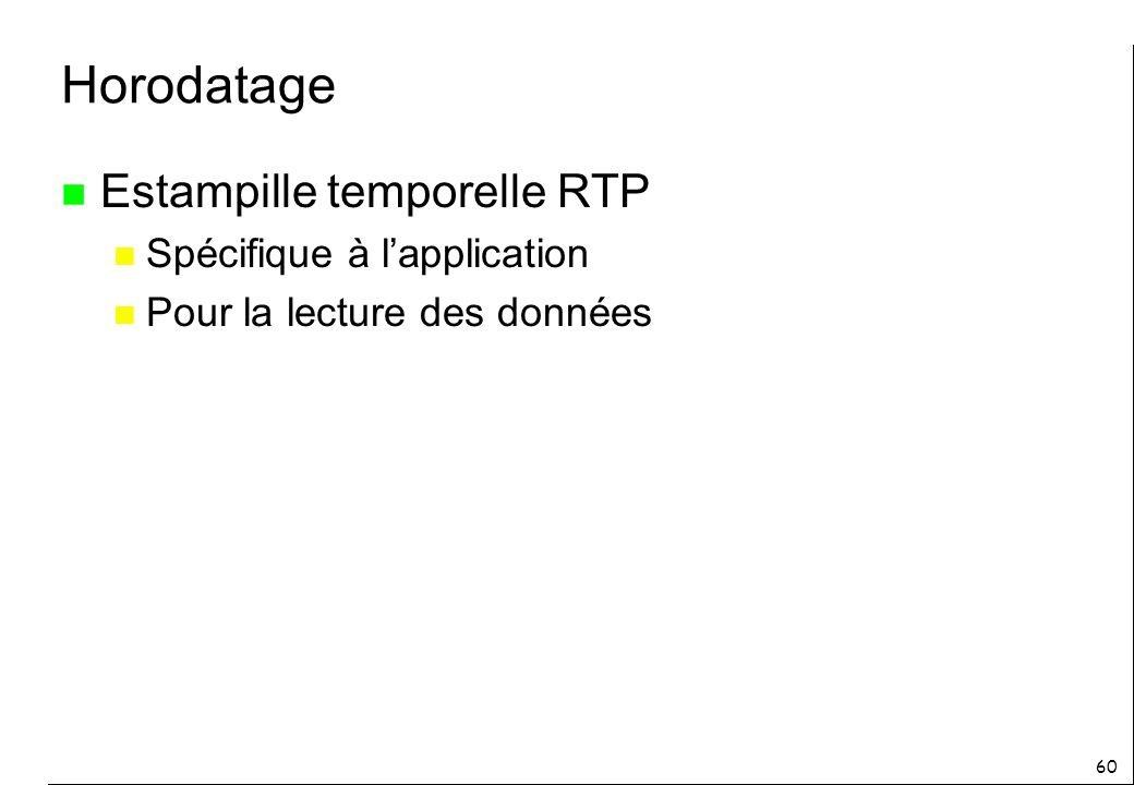 60 Horodatage n Estampille temporelle RTP n Spécifique à lapplication n Pour la lecture des données
