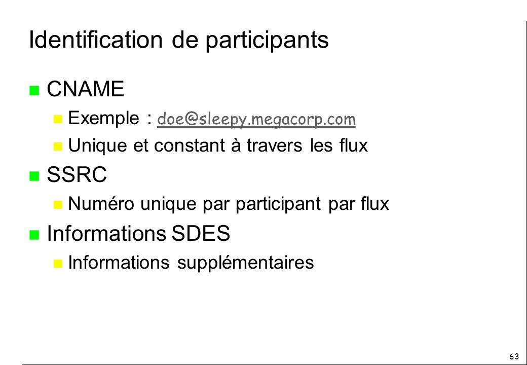 63 Identification de participants n CNAME Exemple : doe@sleepy.megacorp.com doe@sleepy.megacorp.com n Unique et constant à travers les flux n SSRC n Numéro unique par participant par flux n Informations SDES n Informations supplémentaires