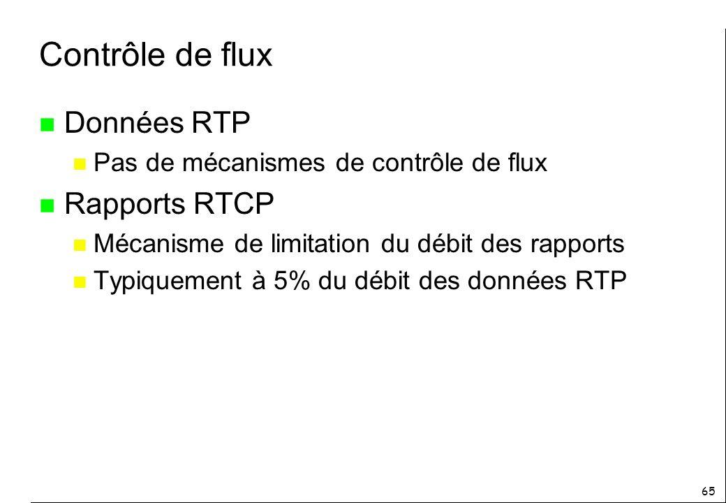 65 Contrôle de flux n Données RTP n Pas de mécanismes de contrôle de flux n Rapports RTCP n Mécanisme de limitation du débit des rapports n Typiquement à 5% du débit des données RTP