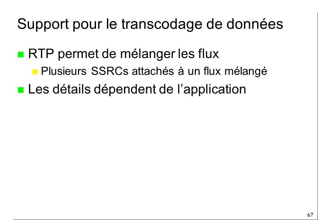 67 Support pour le transcodage de données n RTP permet de mélanger les flux n Plusieurs SSRCs attachés à un flux mélangé n Les détails dépendent de lapplication