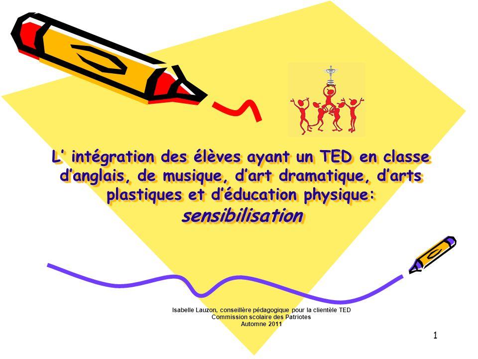 L intégration des élèves ayant un TED en classe danglais, de musique, dart dramatique, darts plastiques et déducation physique: sensibilisation Isabel