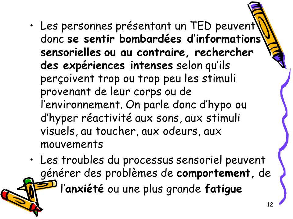 Les personnes présentant un TED peuvent donc se sentir bombardées dinformations sensorielles ou au contraire, rechercher des expériences intenses selon quils perçoivent trop ou trop peu les stimuli provenant de leur corps ou de lenvironnement.