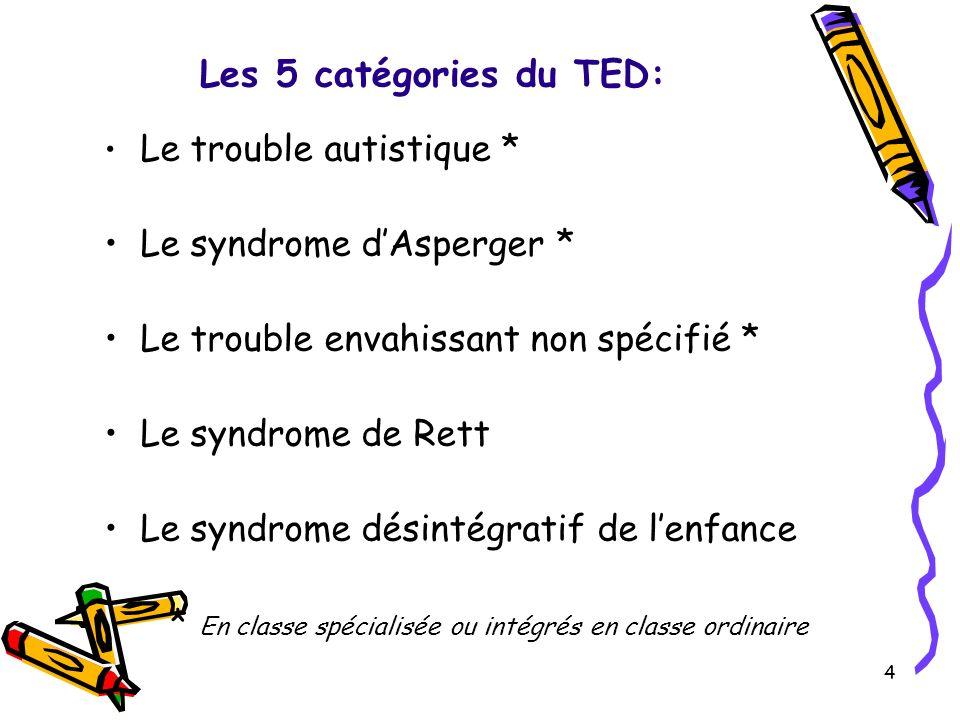 Les 5 catégories du TED: Le trouble autistique * Le syndrome dAsperger * Le trouble envahissant non spécifié * Le syndrome de Rett Le syndrome désintégratif de lenfance * En classe spécialisée ou intégrés en classe ordinaire 4