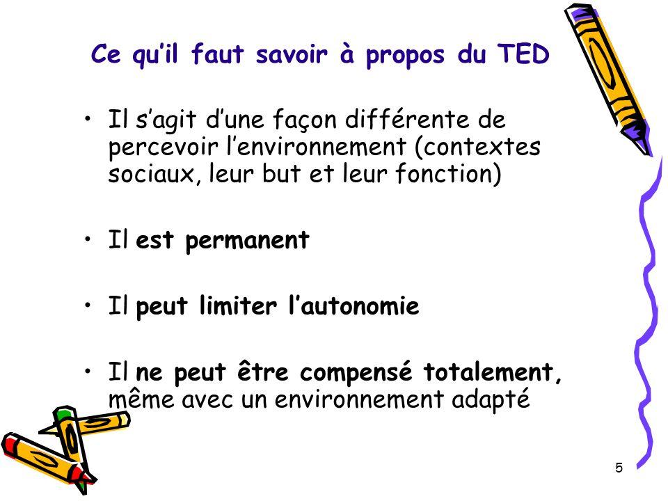 Ce quil faut savoir à propos du TED Il sagit dune façon différente de percevoir lenvironnement (contextes sociaux, leur but et leur fonction) Il est p