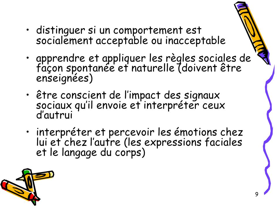 distinguer si un comportement est socialement acceptable ou inacceptable apprendre et appliquer les règles sociales de façon spontanée et naturelle (d