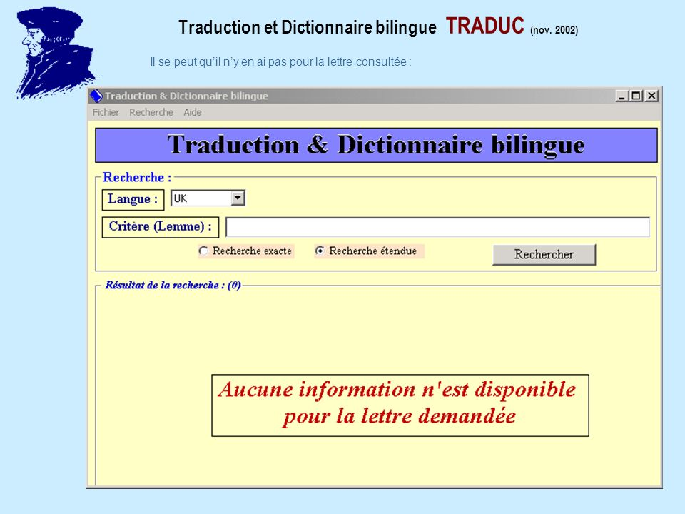 Traduction et Dictionnaire bilingue TRADUC (nov.