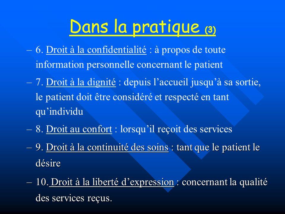 Dans la pratique (3) – –6. Droit à la confidentialité : à propos de toute information personnelle concernant le patient – –7. Droit à la dignité : dep