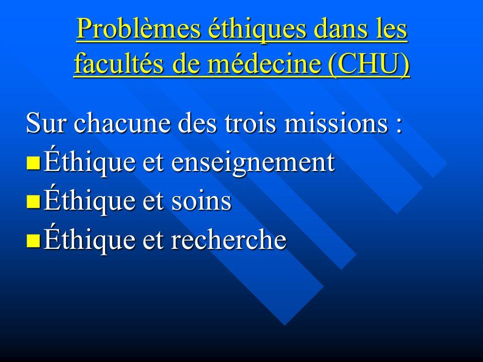 Problèmes éthiques dans les facultés de médecine (CHU) Sur chacune des trois missions : Éthique et enseignement Éthique et enseignement Éthique et soins Éthique et soins Éthique et recherche Éthique et recherche