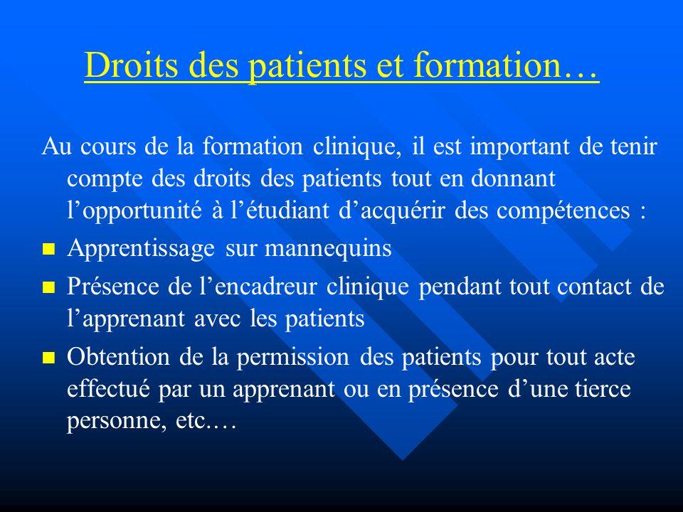 Droits des patients et formation… Au cours de la formation clinique, il est important de tenir compte des droits des patients tout en donnant lopportu