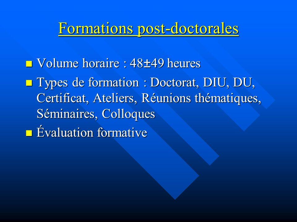 Formations post-doctorales Volume horaire : 48±49 heures Volume horaire : 48±49 heures Types de formation : Doctorat, DIU, DU, Certificat, Ateliers, R