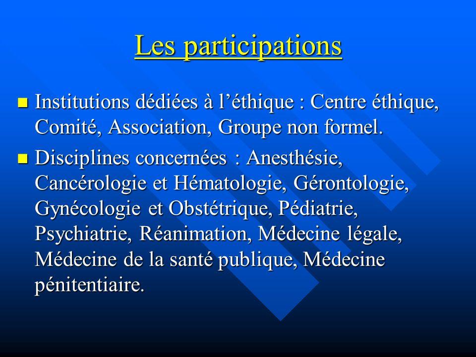 Les participations Institutions dédiées à léthique : Centre éthique, Comité, Association, Groupe non formel. Institutions dédiées à léthique : Centre