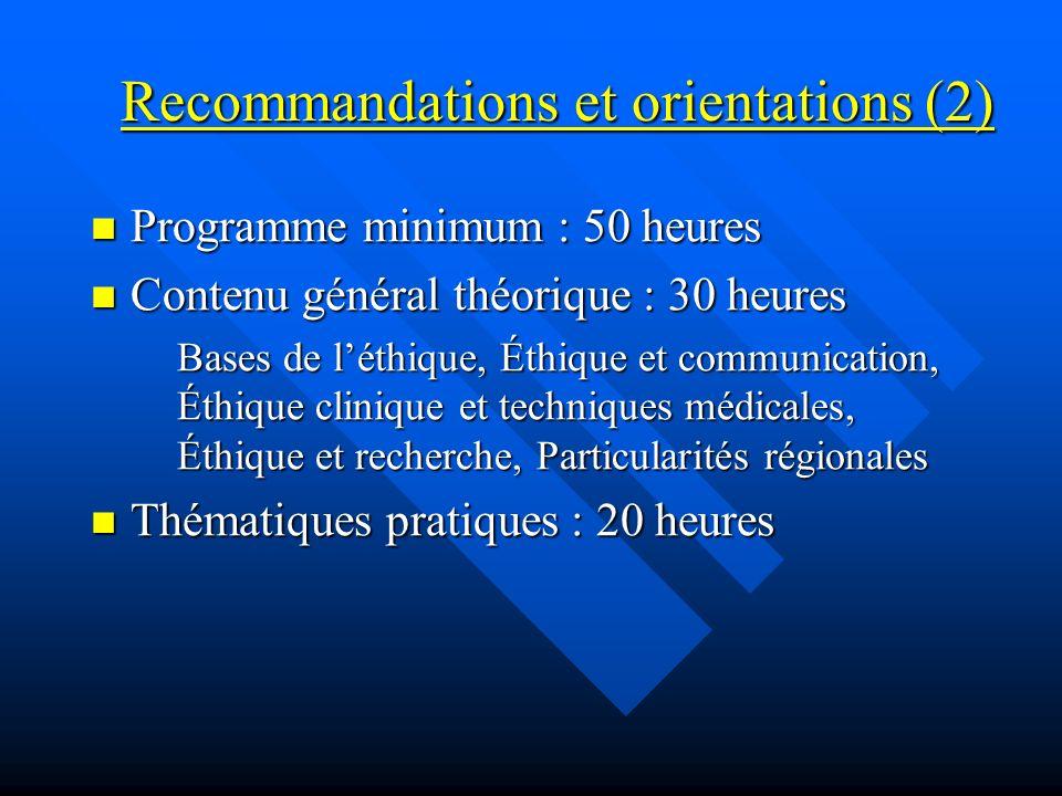 Recommandations et orientations (2) Programme minimum : 50 heures Programme minimum : 50 heures Contenu général théorique : 30 heures Contenu général