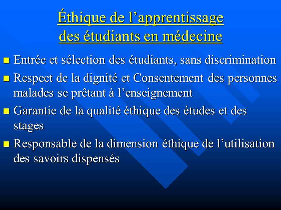 Éthique de lapprentissage des étudiants en médecine Entrée et sélection des étudiants, sans discrimination Entrée et sélection des étudiants, sans dis