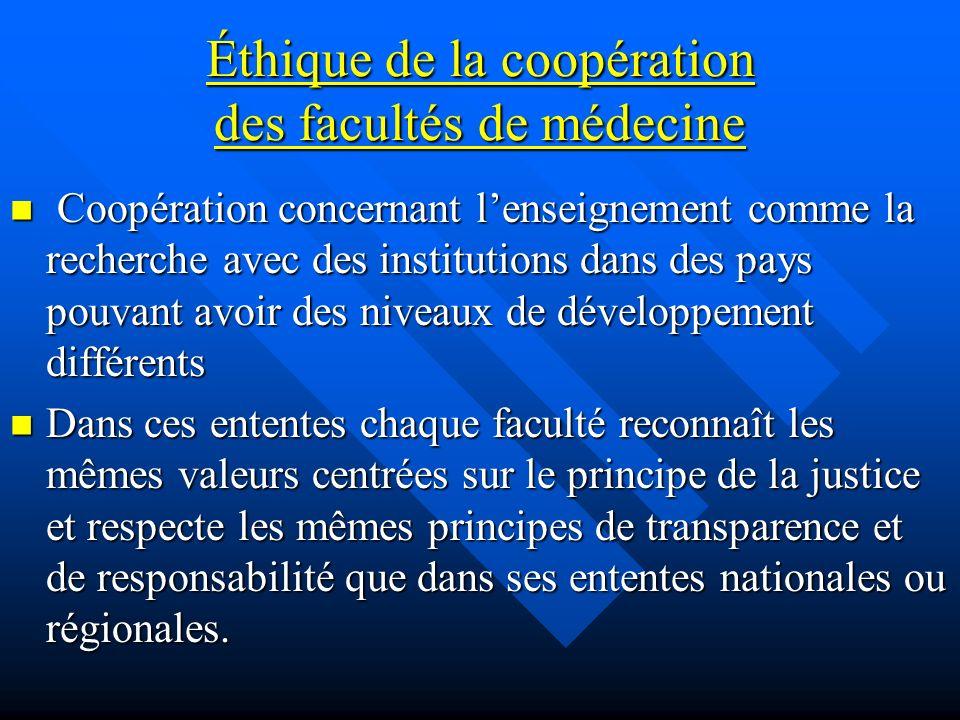 Éthique de la coopération des facultés de médecine Coopération concernant lenseignement comme la recherche avec des institutions dans des pays pouvant