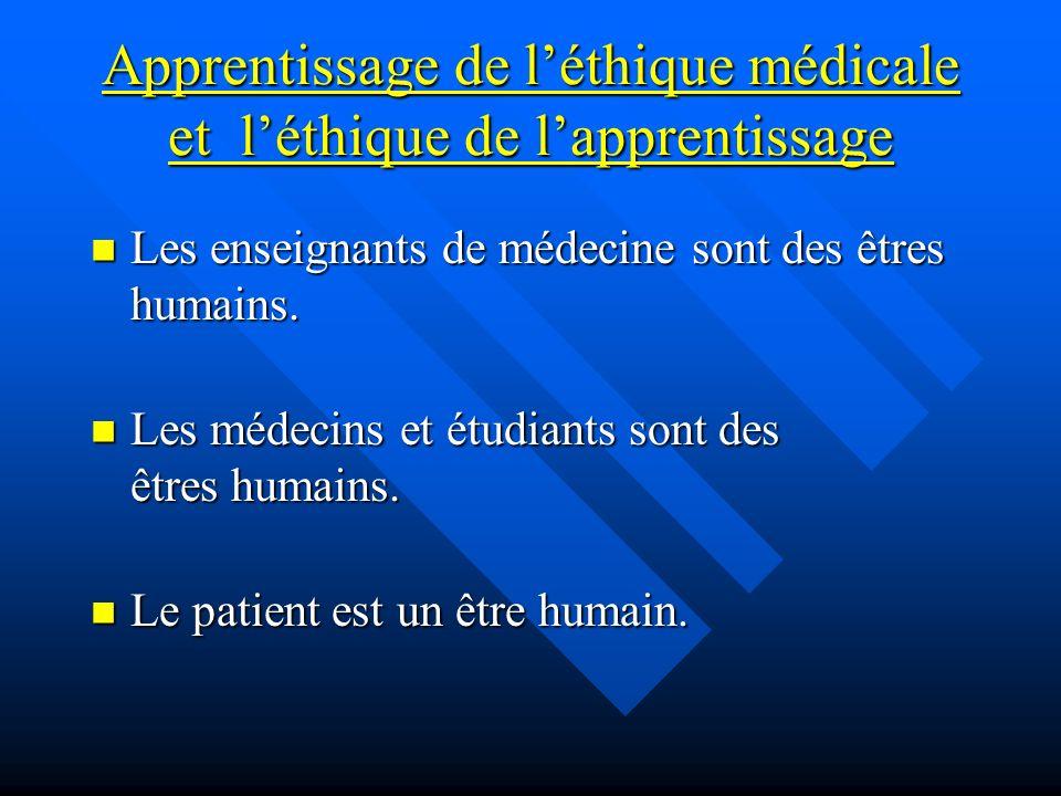 Apprentissage de léthique médicale et léthique de lapprentissage Les enseignants de médecine sont des êtres humains. Les enseignants de médecine sont