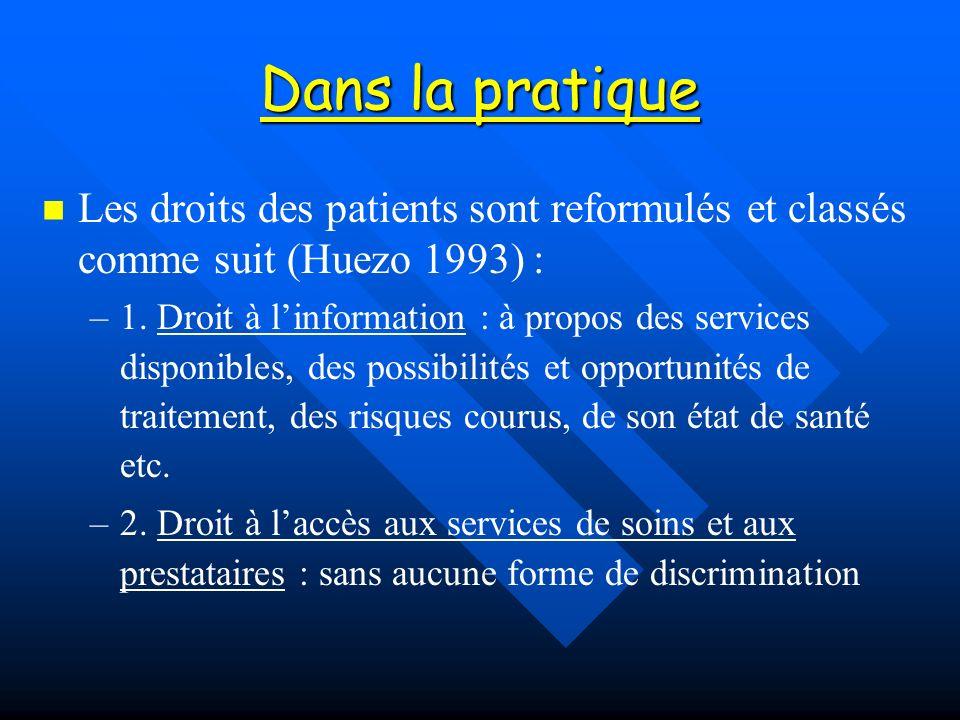 Dans la pratique Les droits des patients sont reformulés et classés comme suit (Huezo 1993) : – –1. Droit à linformation : à propos des services dispo