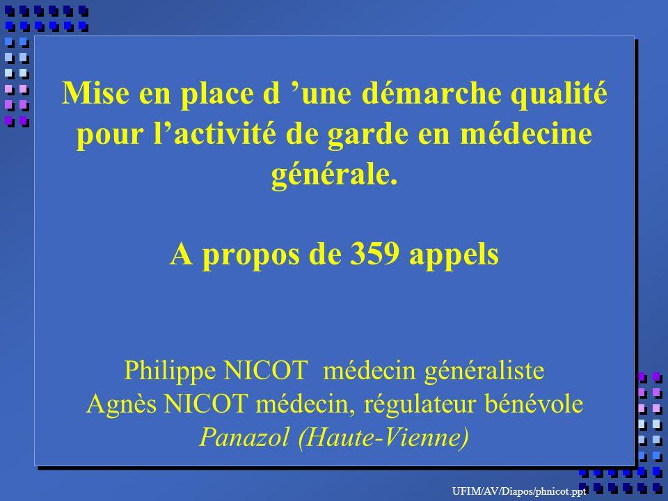 UFIM/AV/Diapos/phnicot.ppt Mise en place d une démarche qualité pour lactivité de garde en médecine générale. A propos de 359 appels Philippe NICOT mé