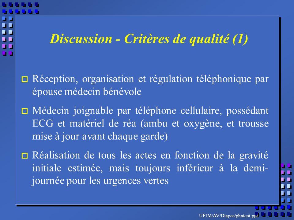 UFIM/AV/Diapos/phnicot.ppt o Réception, organisation et régulation téléphonique par épouse médecin bénévole o Médecin joignable par téléphone cellulai