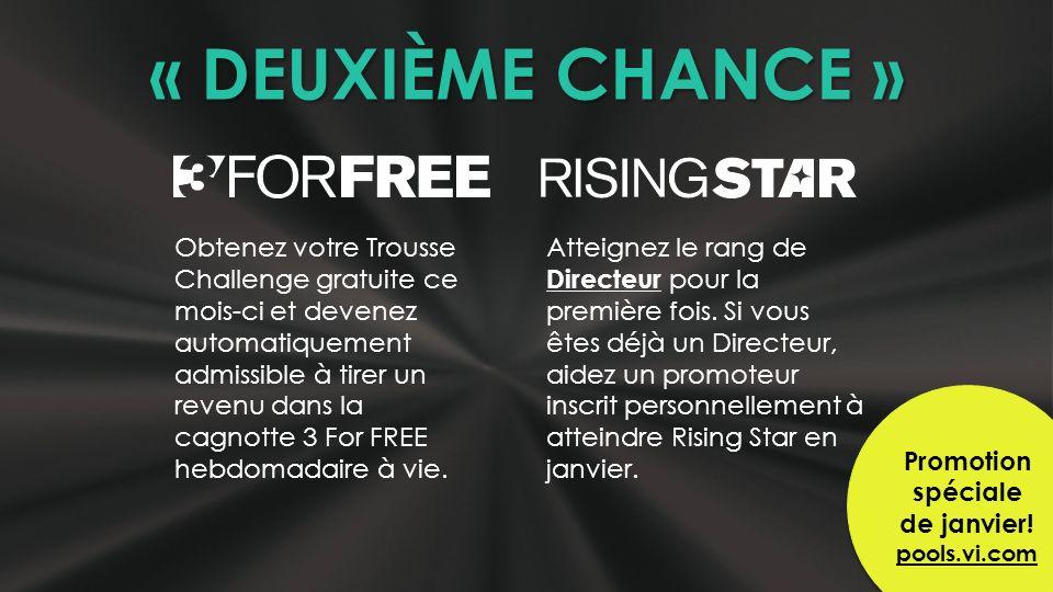 « DEUXIÈME CHANCE » Obtenez votre Trousse Challenge gratuite ce mois-ci et devenez automatiquement admissible à tirer un revenu dans la cagnotte 3 For FREE hebdomadaire à vie.