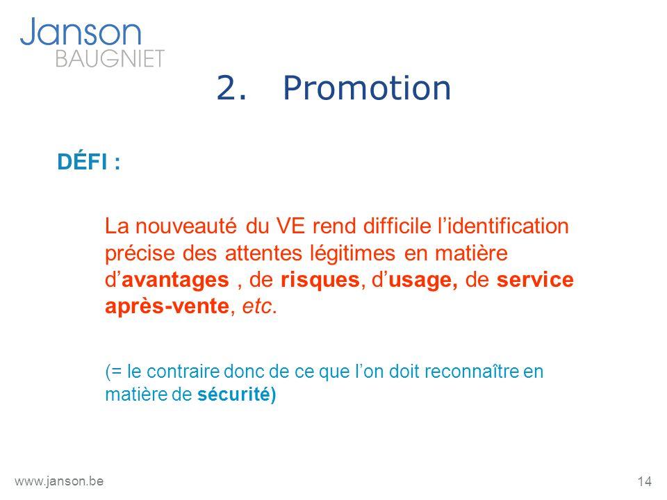 14 www.janson.be 2.Promotion DÉFI : La nouveauté du VE rend difficile lidentification précise des attentes légitimes en matière davantages, de risques