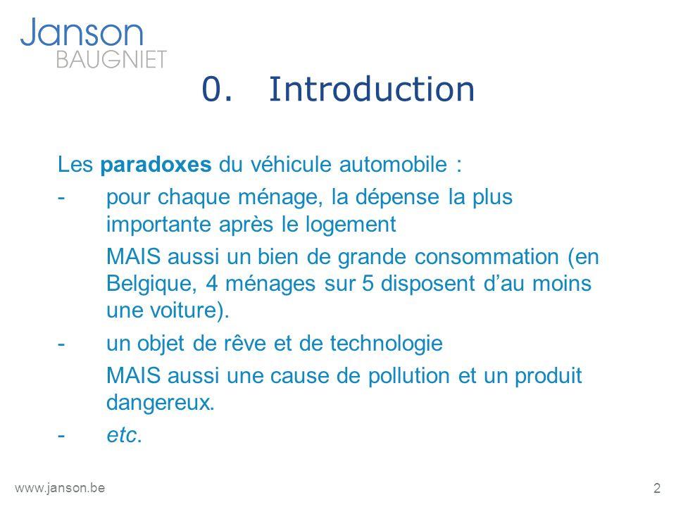 2 www.janson.be 0.Introduction Les paradoxes du véhicule automobile : -pour chaque ménage, la dépense la plus importante après le logement MAIS aussi un bien de grande consommation (en Belgique, 4 ménages sur 5 disposent dau moins une voiture).