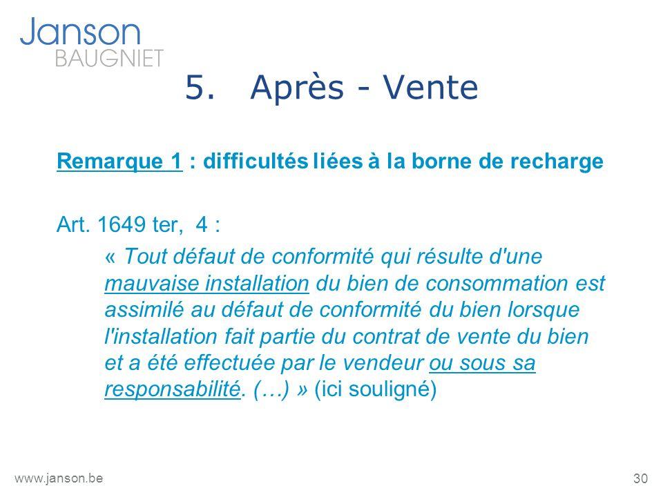 30 www.janson.be 5.Après - Vente Remarque 1 : difficultés liées à la borne de recharge Art. 1649 ter, 4 : « Tout défaut de conformité qui résulte d'un