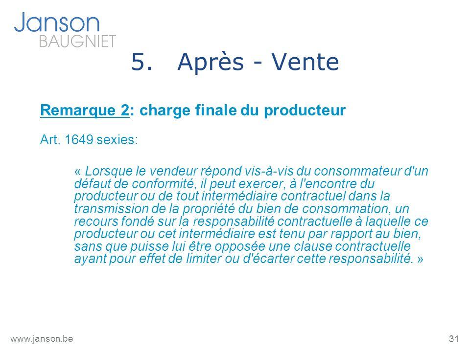 31 www.janson.be 5.Après - Vente Remarque 2: charge finale du producteur Art.