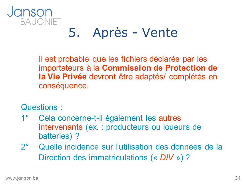 34 www.janson.be 5.Après - Vente Il est probable que les fichiers déclarés par les importateurs à la Commission de Protection de la Vie Privée devront