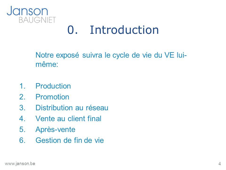 4 www.janson.be 0.Introduction Notre exposé suivra le cycle de vie du VE lui- même: 1.Production 2.Promotion 3.Distribution au réseau 4.Vente au client final 5.Après-vente 6.Gestion de fin de vie