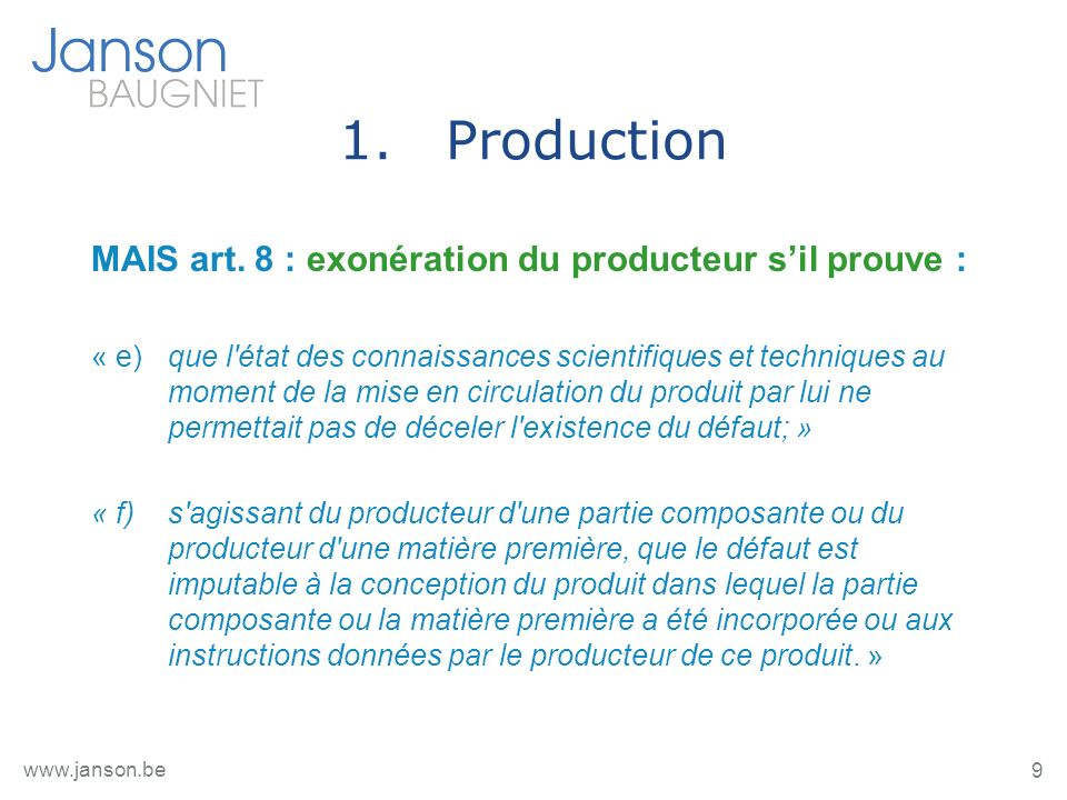 9 www.janson.be 1.Production MAIS art.