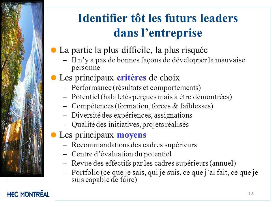12 Identifier tôt les futurs leaders dans lentreprise La partie la plus difficile, la plus risquée –Il ny a pas de bonnes façons de développer la mauv