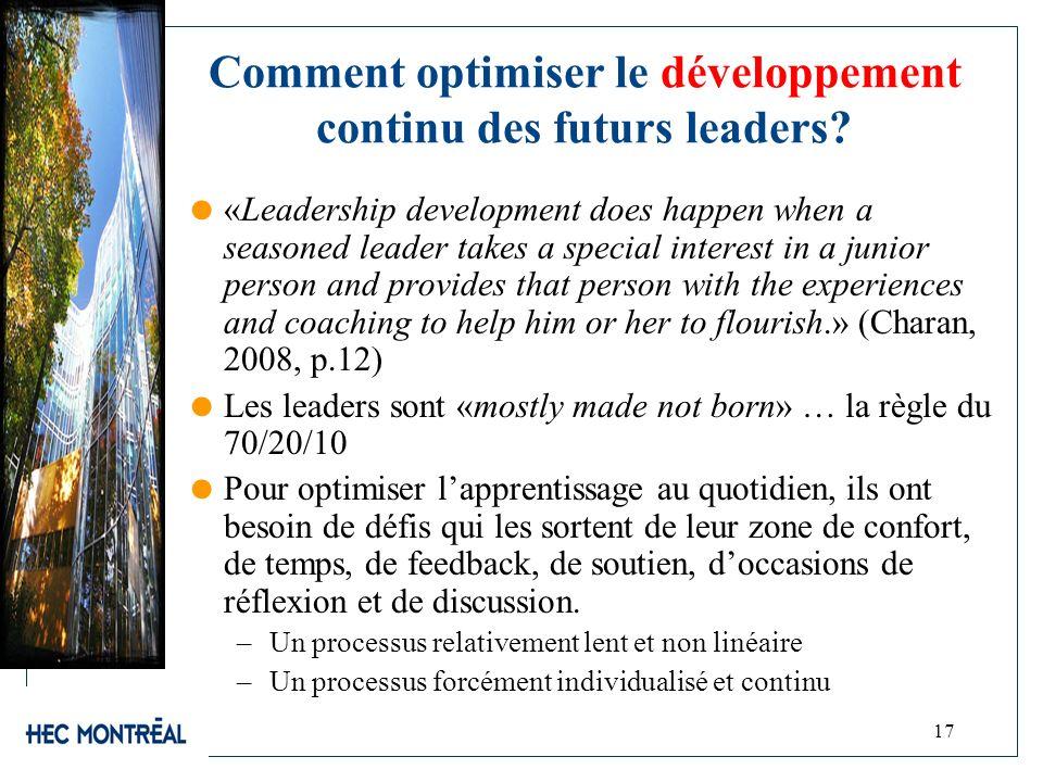 17 Comment optimiser le développement continu des futurs leaders? «Leadership development does happen when a seasoned leader takes a special interest