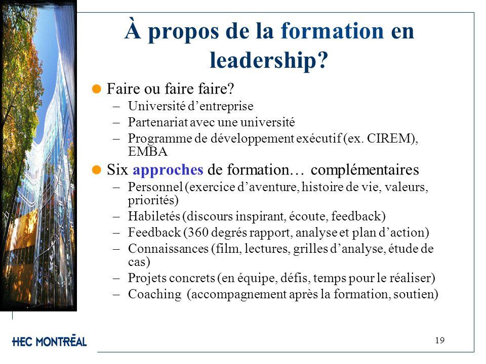 19 À propos de la formation en leadership? Faire ou faire faire? –Université dentreprise –Partenariat avec une université –Programme de développement