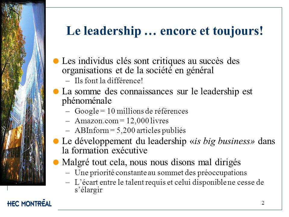 2 Le leadership … encore et toujours! Les individus clés sont critiques au succès des organisations et de la société en général –Ils font la différenc