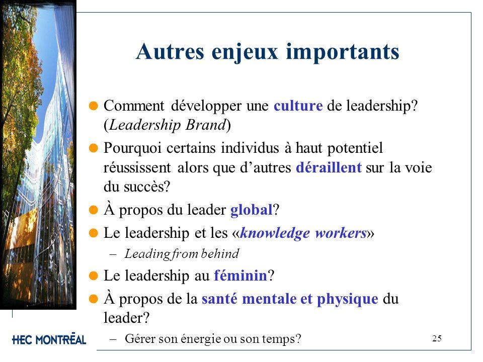 Autres enjeux importants Comment développer une culture de leadership? (Leadership Brand) Pourquoi certains individus à haut potentiel réussissent alo