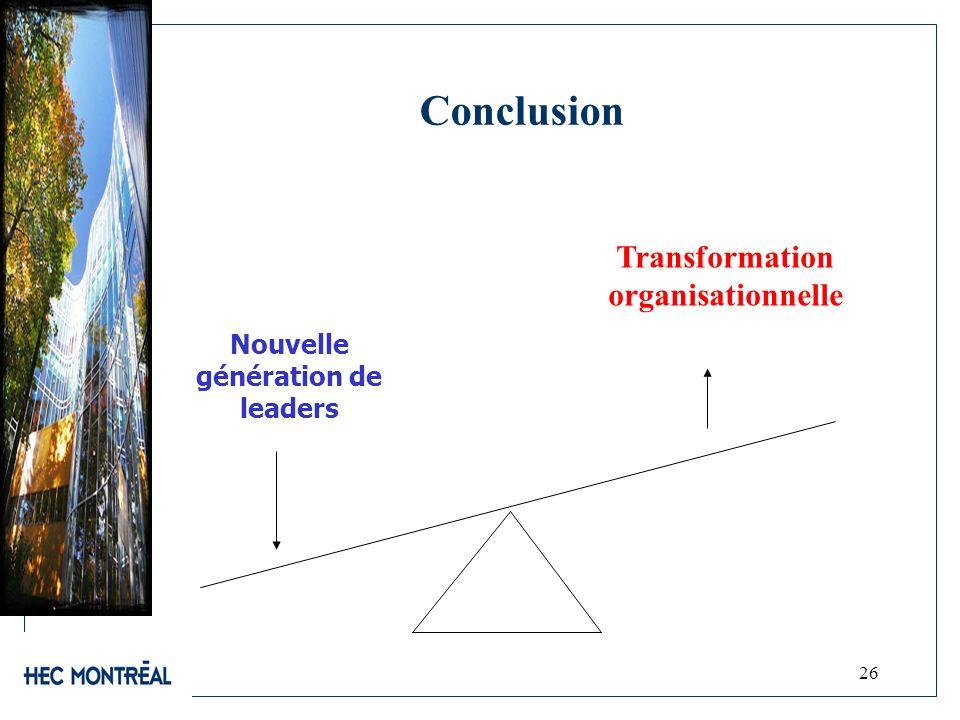 26 Conclusion Nouvelle génération de leaders Transformation organisationnelle