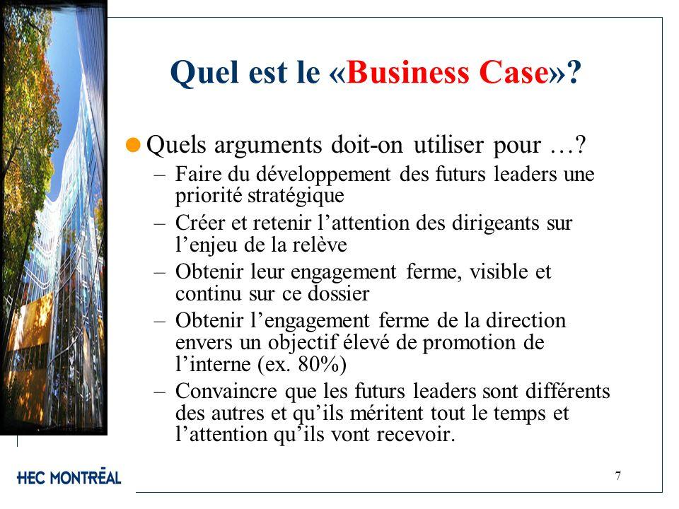 7 Quel est le «Business Case»? Quels arguments doit-on utiliser pour …? –Faire du développement des futurs leaders une priorité stratégique –Créer et