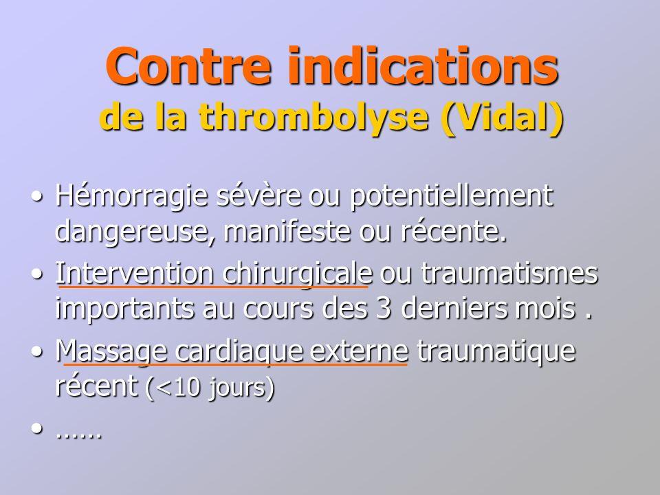 Contre indications de la thrombolyse (Vidal) Hémorragie sévère ou potentiellement dangereuse, manifeste ou récente.Hémorragie sévère ou potentiellemen