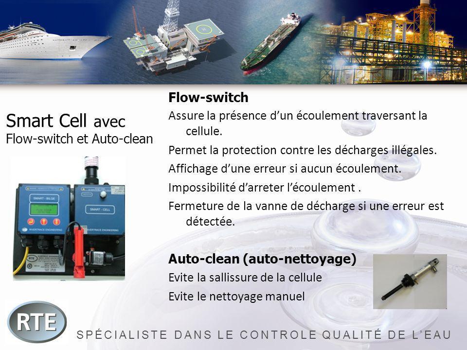 SPÉCIALISTE DANS LE CONTROLE QUALITÉ DE LEAU Smart Cell avec Flow-switch et Auto-clean Flow-switch Assure la présence dun écoulement traversant la cel