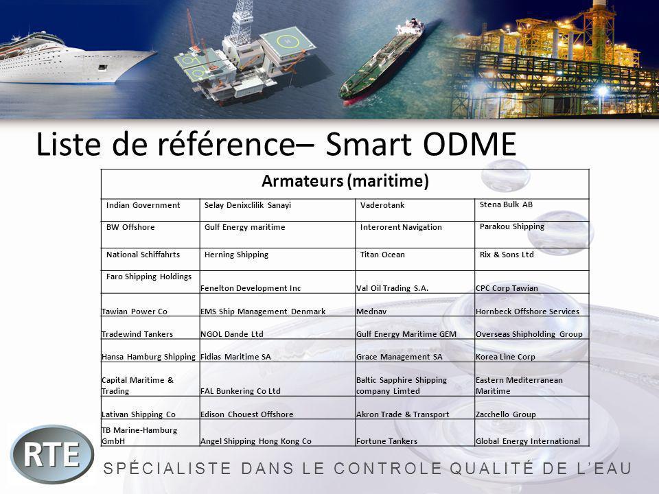 SPÉCIALISTE DANS LE CONTROLE QUALITÉ DE LEAU Liste de référence– Smart ODME Armateurs (maritime) Indian GovernmentSelay Denixclilik SanayiVaderotankSt