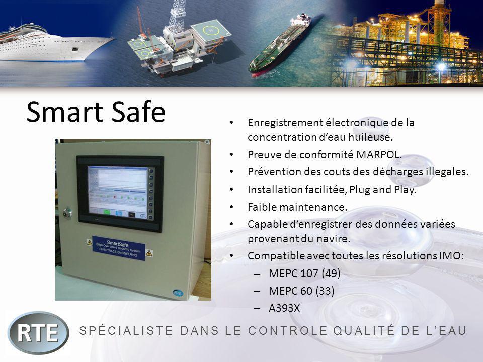 SPÉCIALISTE DANS LE CONTROLE QUALITÉ DE LEAU Smart Safe Enregistrement électronique de la concentration deau huileuse. Preuve de conformité MARPOL. Pr