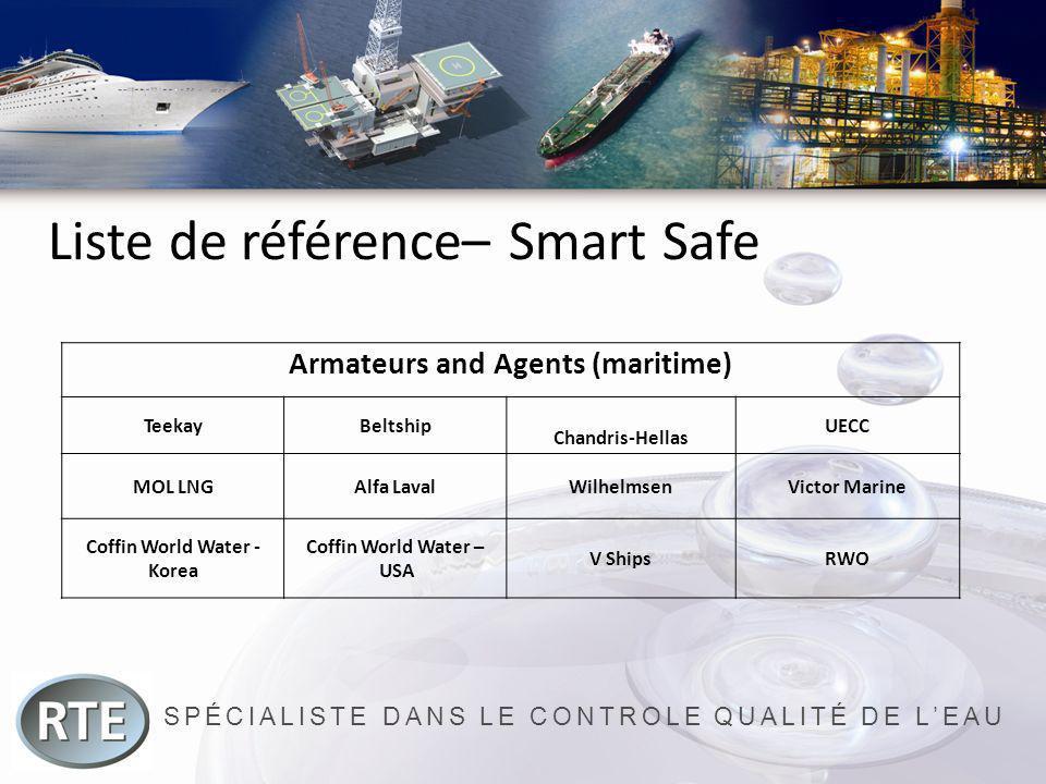 SPÉCIALISTE DANS LE CONTROLE QUALITÉ DE LEAU Liste de référence– Smart Safe Armateurs and Agents (maritime) TeekayBeltship Chandris-Hellas UECC MOL LN