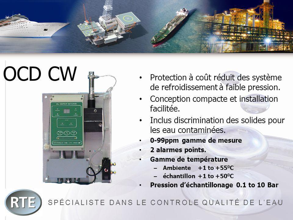 SPÉCIALISTE DANS LE CONTROLE QUALITÉ DE LEAU OCD CW Protection à coût réduit des système de refroidissement à faible pression. Conception compacte et