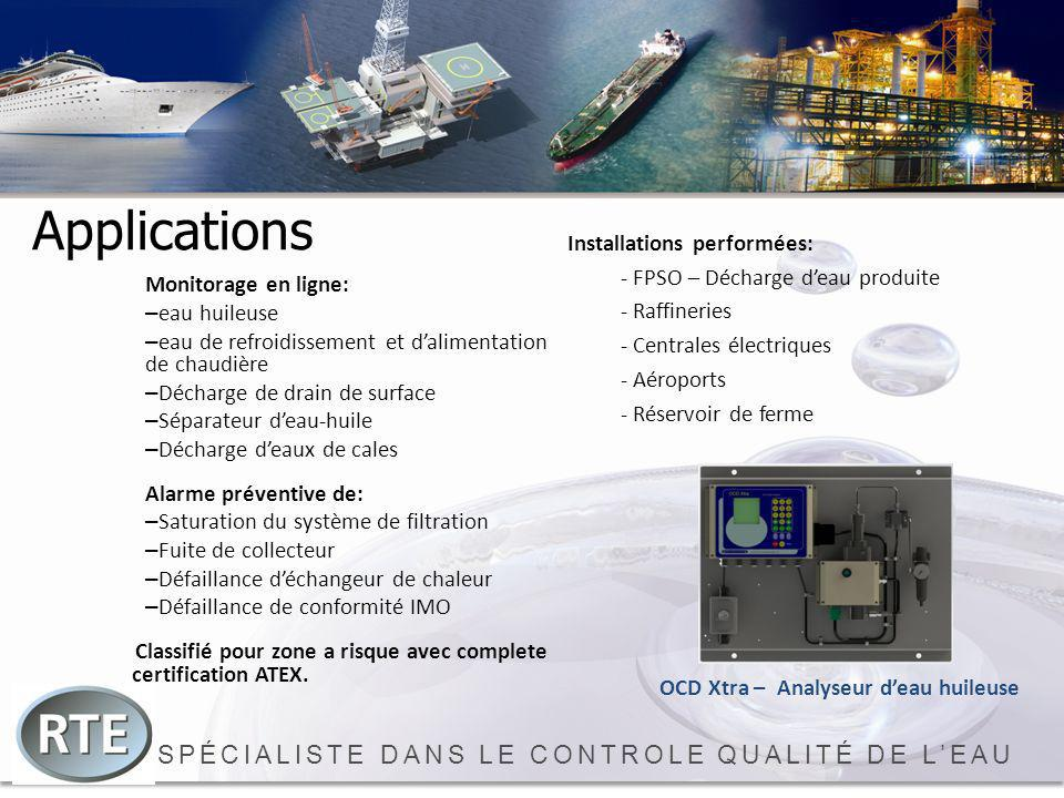 SPÉCIALISTE DANS LE CONTROLE QUALITÉ DE LEAU Applications Monitorage en ligne: – eau huileuse – eau de refroidissement et dalimentation de chaudière –