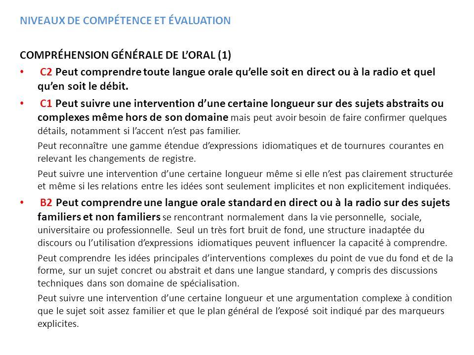 COMPRÉHENSION GÉNÉRALE DE LORAL (1) C2 Peut comprendre toute langue orale quelle soit en direct ou à la radio et quel quen soit le débit. C1 Peut suiv